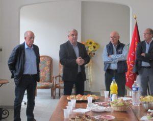Jacques Grau, maire d'Assas, Pierre Antoine, Michel Andrieu, Président du CCFF local, Serge Cournet, Adjoint à la mairie d'Assas